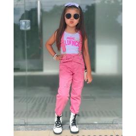 Salopete Rosa Jeans De Criança