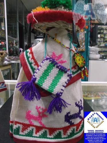 salsa huichol con traje típico, artesanía wixarika 100% orig