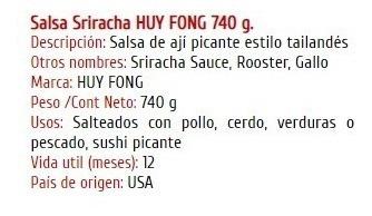 salsa sriracha 28 oz - ml a $33