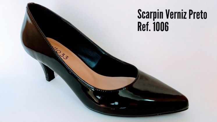 209f473e9 Salto 33 Calçados - Scarpin Verniz Preto - Frete Grátis - R$ 99,90 ...