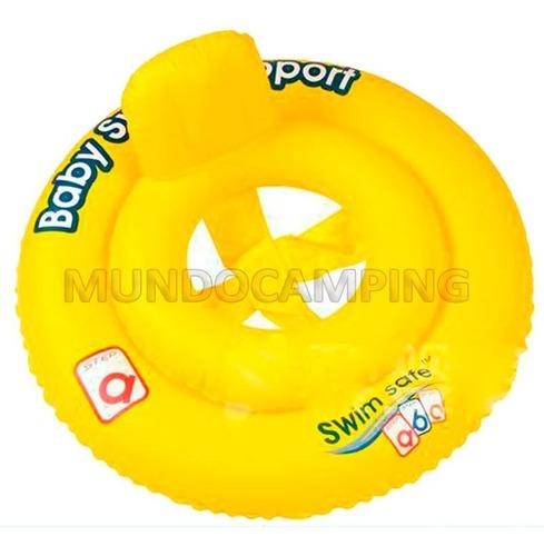 salvavidas inflable sillita circular bebe 2 aros 69 cm