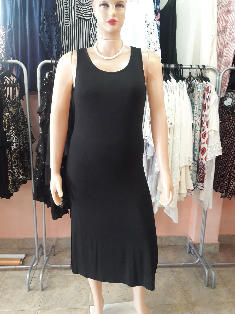 Vestido modal largo negro