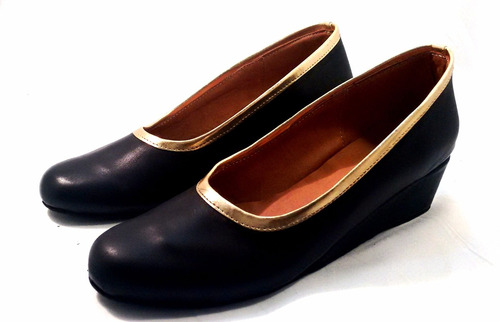 sam123 zapatos taco chino de cuero talles grandes negro oro