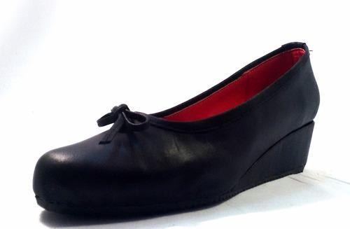 sam123 zapatos taco chino de cuero talles grandes nudo negro