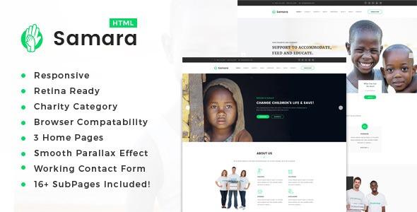 samara responsive html template for charity e fund raising r 25