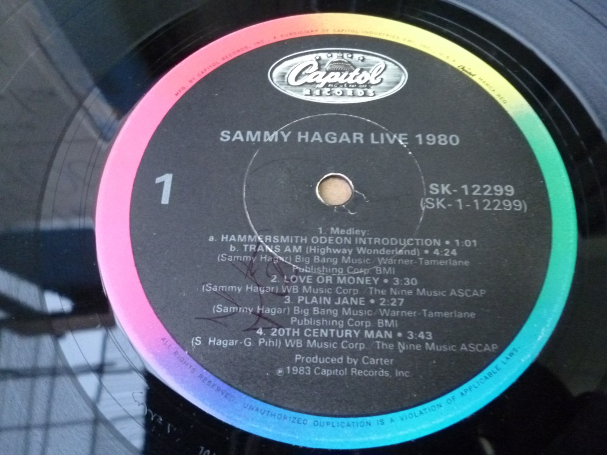 sammy hagar lp live 1980 s 50 00 en mercado libre. Black Bedroom Furniture Sets. Home Design Ideas