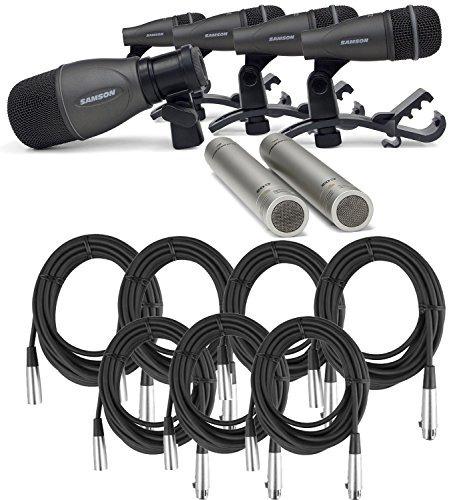 samson dk kit pack de micrófonos de batería con 7 cables xl
