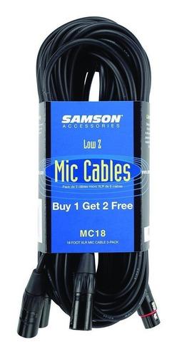 samson mc18 cable xlr a xlr de 5,5 metros pack de 3 unidades