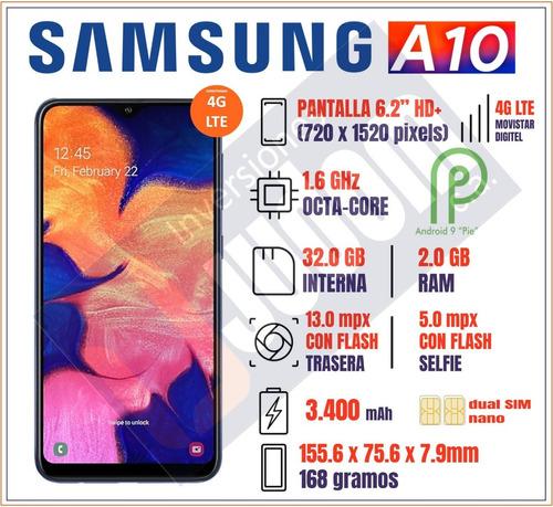 samsung galaxy a10 4g lte + 32gb + 2gb whatsapp 13 mp