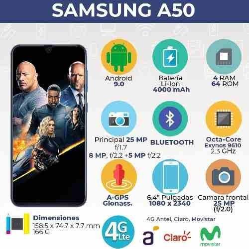 samsung galaxy a50 4 ram 128gb (64gb rom + 64sd)  smartwatch