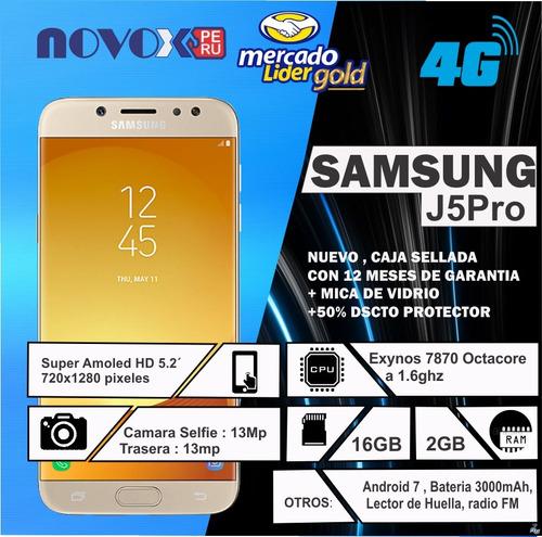 samsung galaxy j5 pro 2gb ram 16gb memoria 13mp + 13mp nuevo