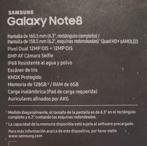 samsung galaxy note 8 128gb con dex y funda batería