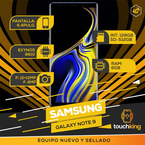 samsung galaxy note 9 128gb 6gb ram libr d fabrica- metallic