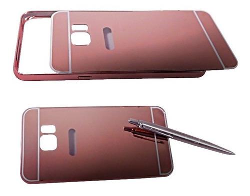 samsung galaxy s6 edge plus bumper con tapa tipo espejo rosa