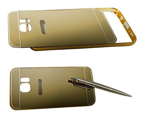 samsung galaxy s7 edge bumper con tapa tipo espejo dorado