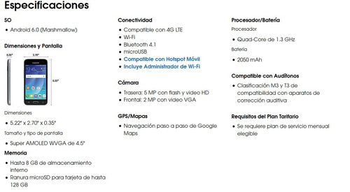 samsung j1 grande 2016 android 6.0 5mpx.  8gb 4glte nuevo