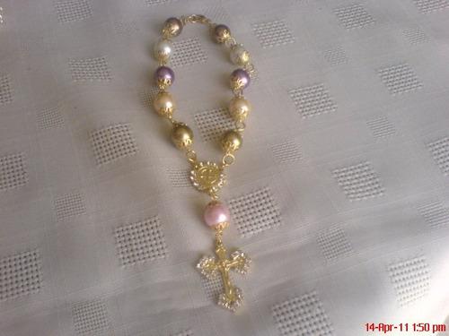 san benito misterios de perla con medalla y piedra circonia