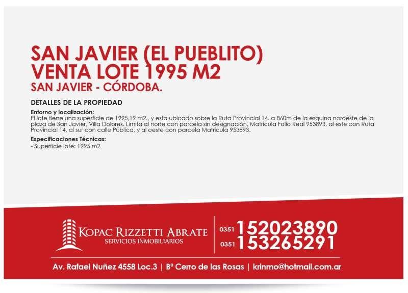 san javier (el pueblito) - venta lote 1995 m2