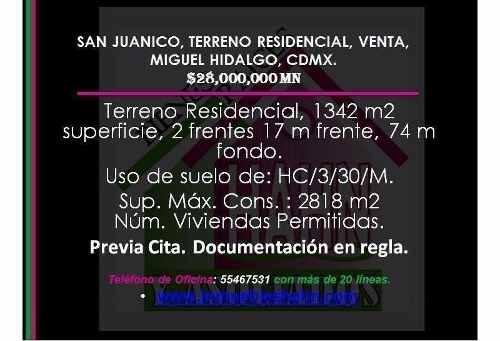 san juanico, terreno residencial, venta, miguel hidalgo, cdmx.