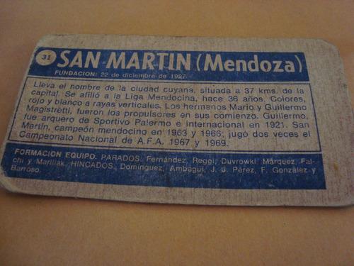 san martin mendoza figurita tarjeton album superfutbol 1971