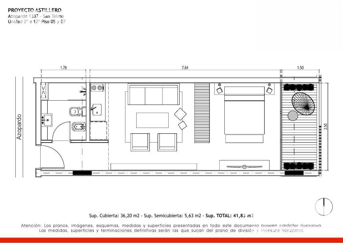 san telmo - departamento en venta de 1 ambiente en construccion