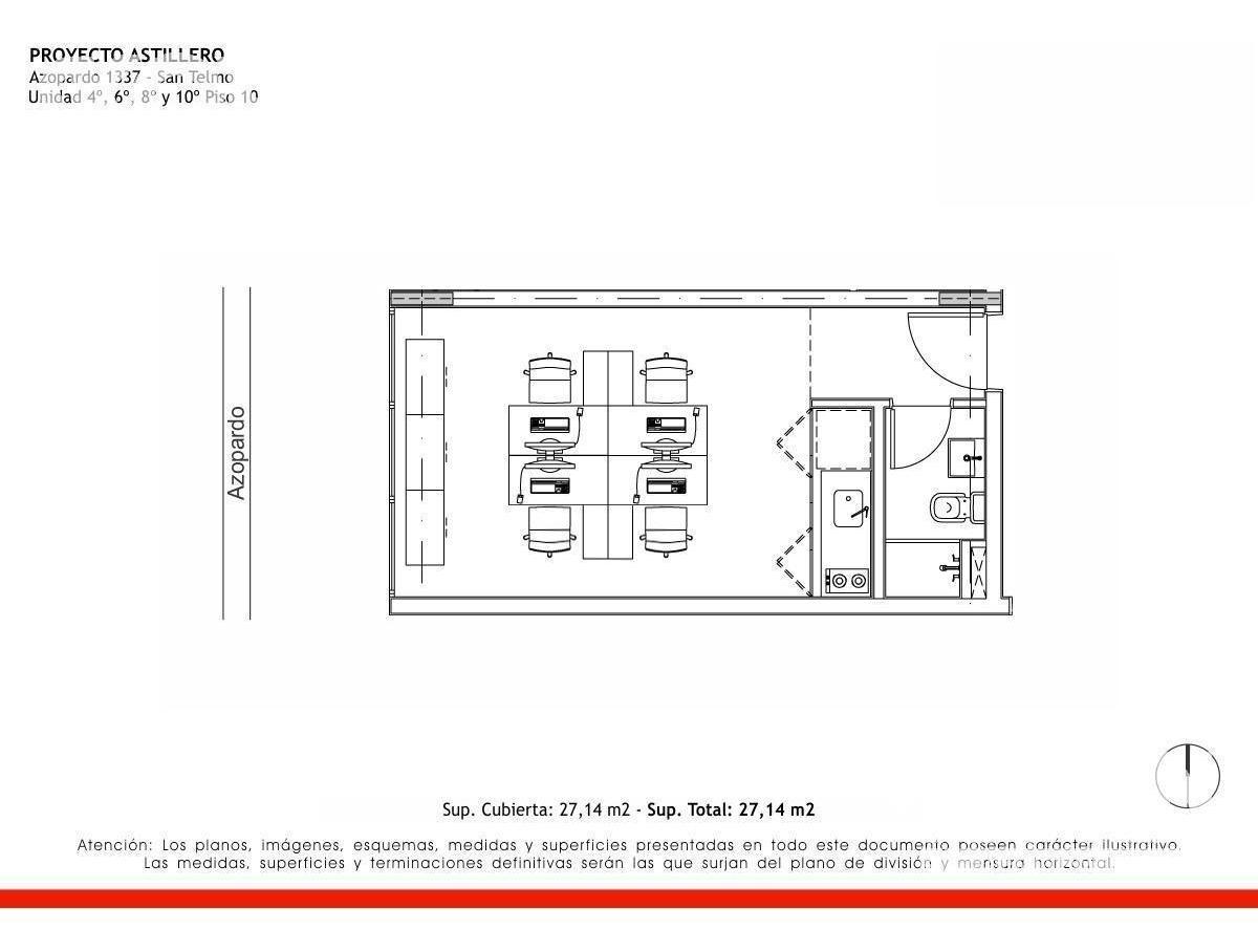 san telmo - estudio profesional en venta de 1 ambiente en construccion