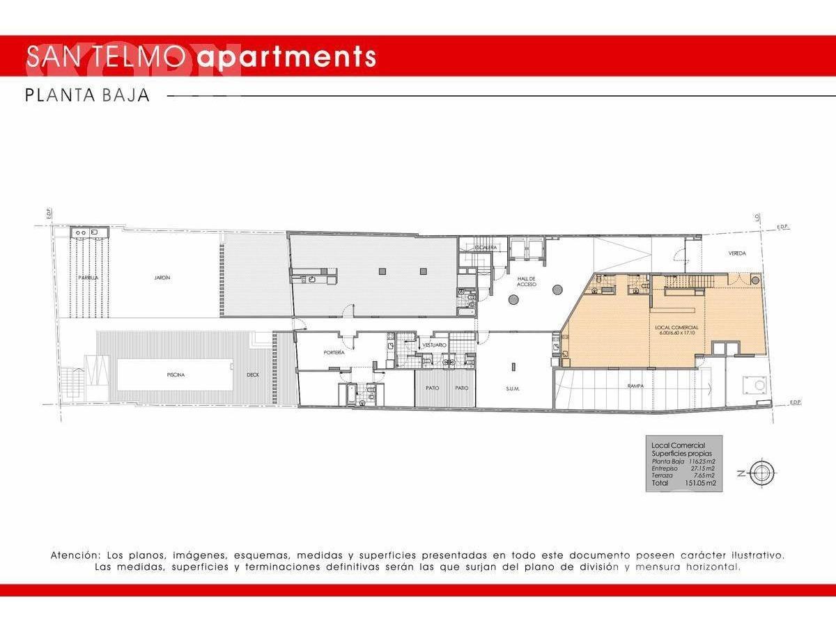 san telmo -  local pre-venta con doble altura y terraza en construcción.