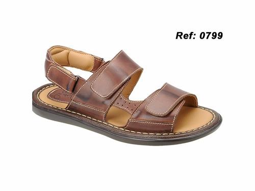 sandália 100% couro legítimo masculina direto de fábrica 79