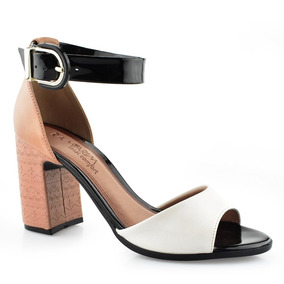 3eae22673 Sapato Branco De Salto Grosso Feminino Ramarim - Sapatos no Mercado ...
