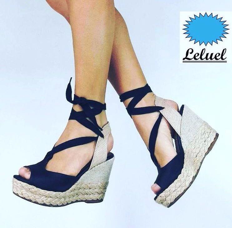 f50b465f2bd51 Sandália Anabela Alta Corda Amarrar Preto Marca Leluel Shoes - R$ 149,90 em  Mercado Livre