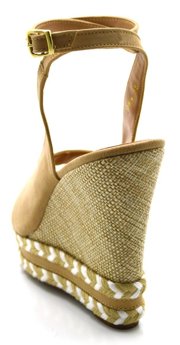 d5d0d3609 sandália anabela amarrar na perna salto alto nude com juta. Carregando zoom.