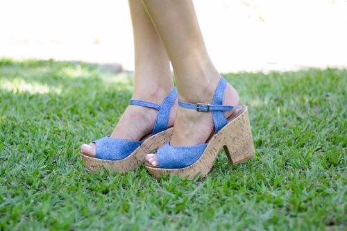 sandália anabela azul jeans leluel insp arezza black friday