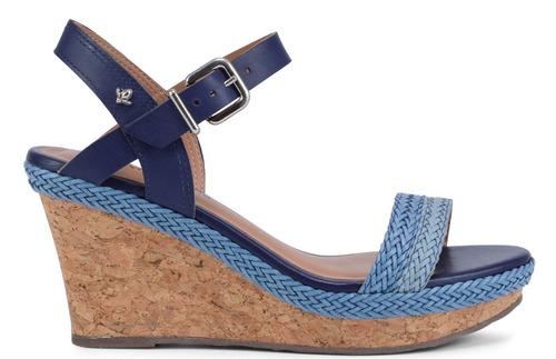 sandália anabela cortiça cravo & canela azul 152506-1