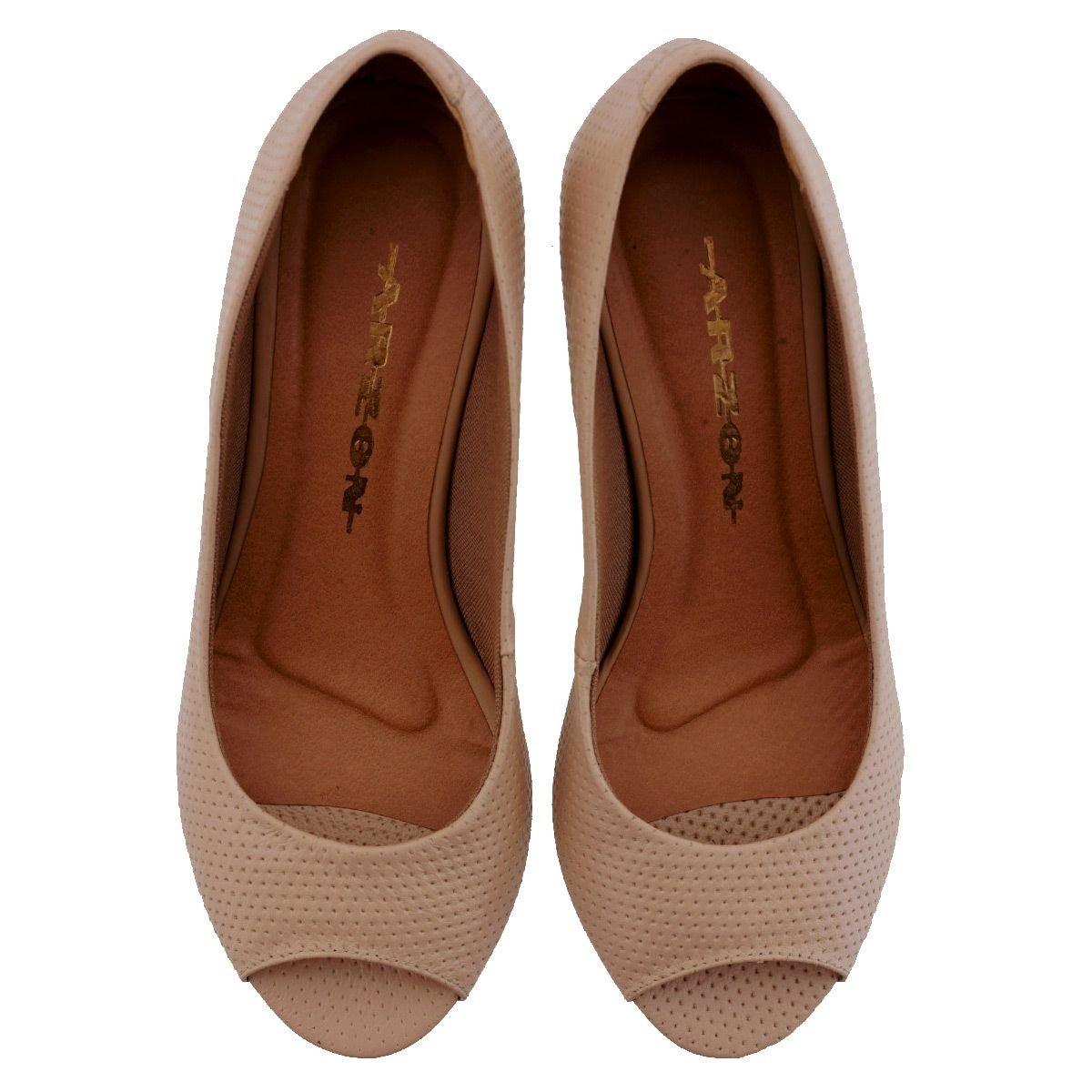 da587076d6 sandália anabela couro feminina rosê. Carregando zoom.