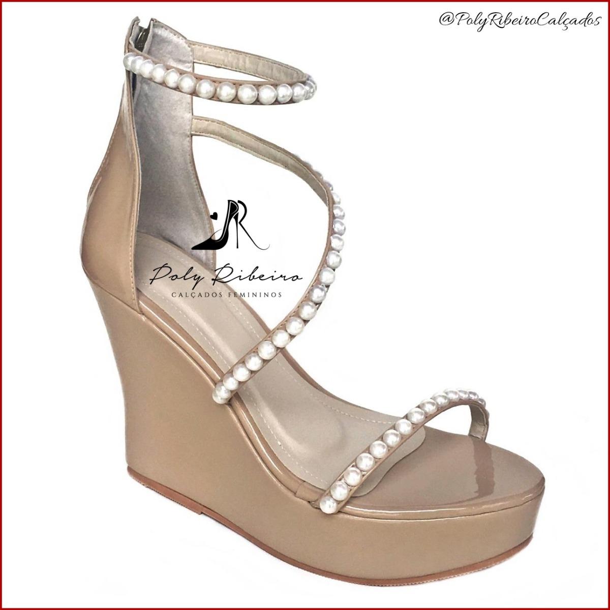 44ee86a35 sandália anabela delicada pérolas salto 12 cm - várias cores. Carregando  zoom.