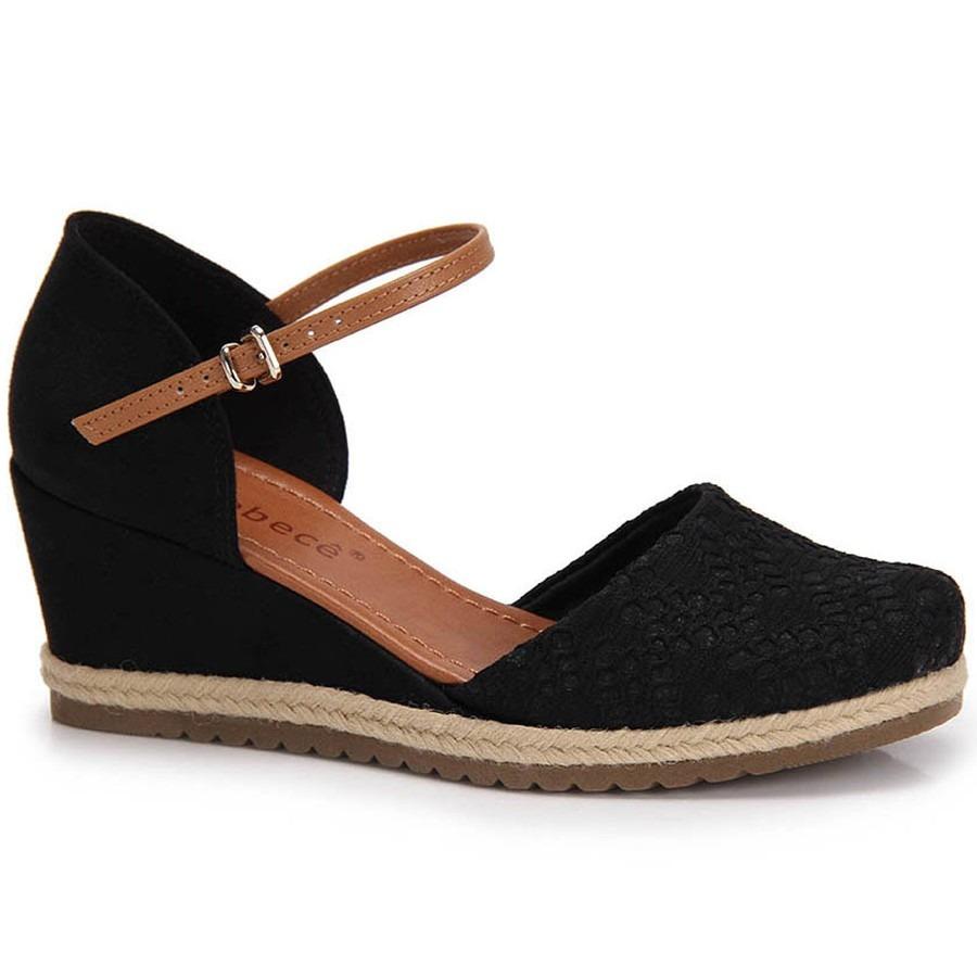 edbd394e2 sandália anabela espadrille bebecê preta - qualidade top. Carregando zoom.