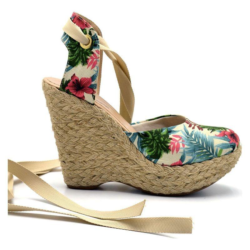 a641d2e76e sandália anabela espadrille feminina amarração floral 3005. Carregando zoom.