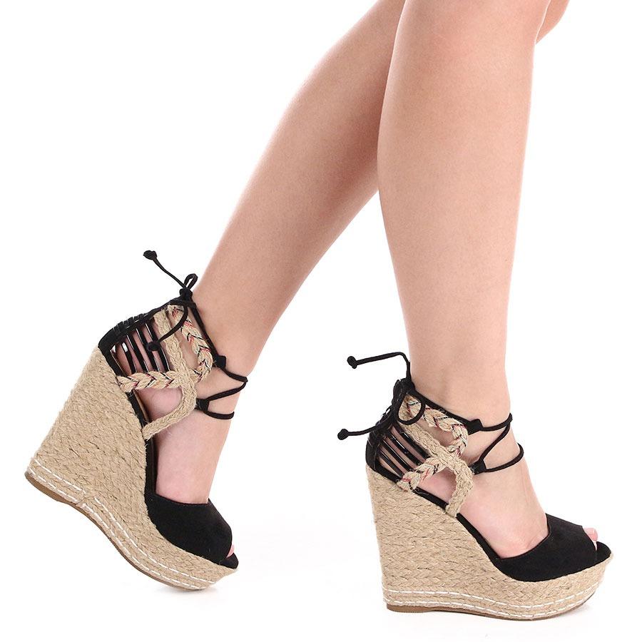 Sandalia de amarrar plataforma e vestido - 1 8