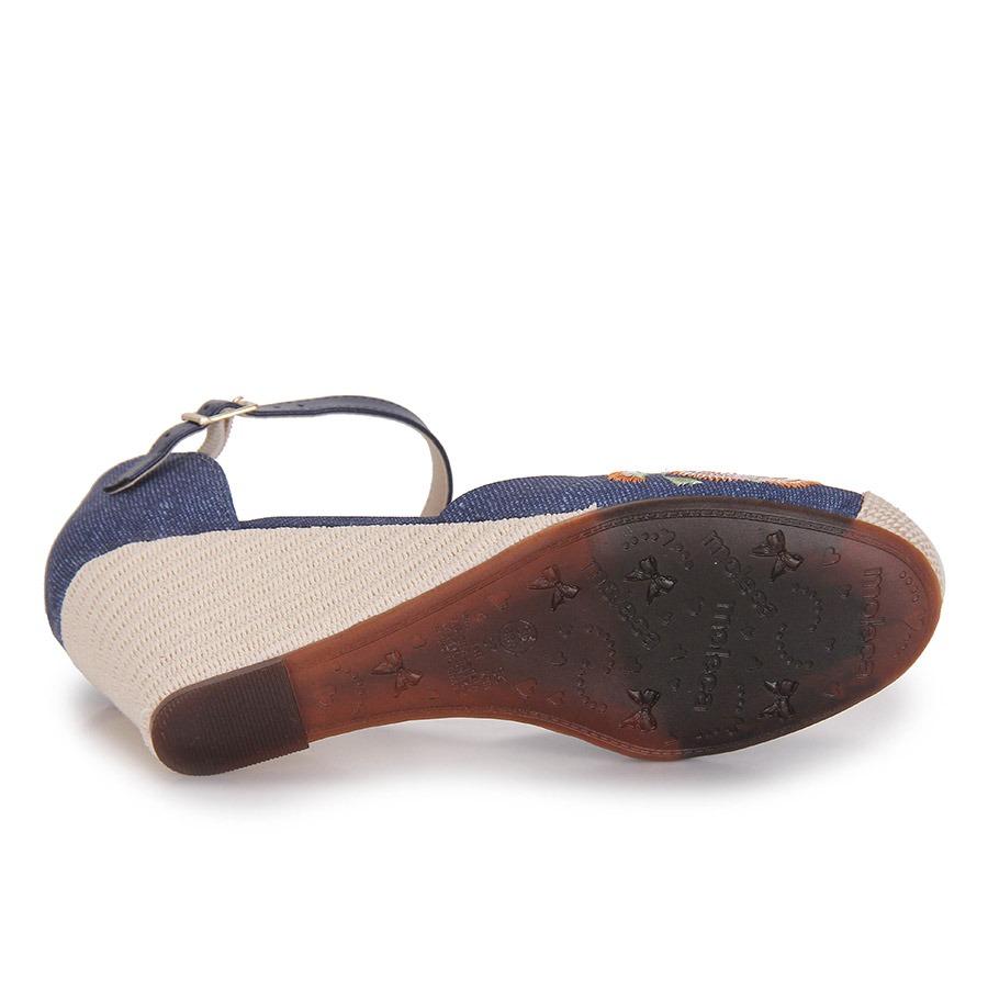 6f43ba75f4 sandália anabela espadrille feminina moleca - jeans. Carregando zoom.