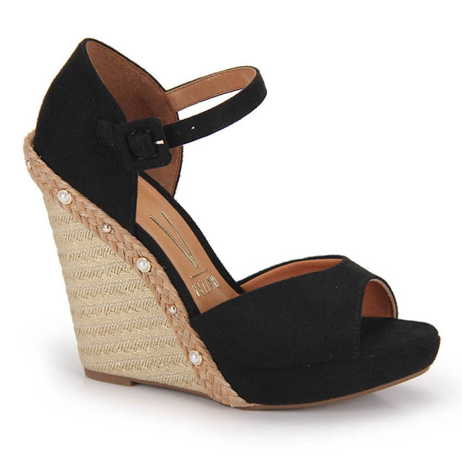 e4461dfa4 sandália anabela espadrille vizzano pérola - preto. Carregando zoom.