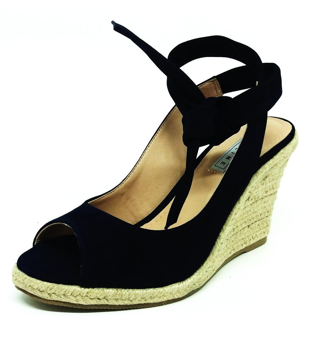 9738852ddd sandália anabela feminina azul marinho lia line na li   ca. Carregando zoom.