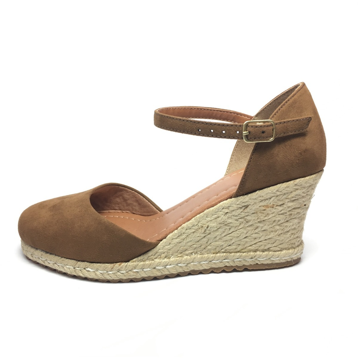 1283be776 sandália anabela feminina espadrille salto médio nude linda! Carregando  zoom.