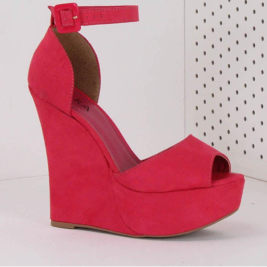 55d6bfefd4 sandália anabela feminina lara - pink. Carregando zoom.