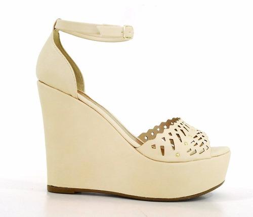 sandália anabela feminina plataforma doma shoes creme