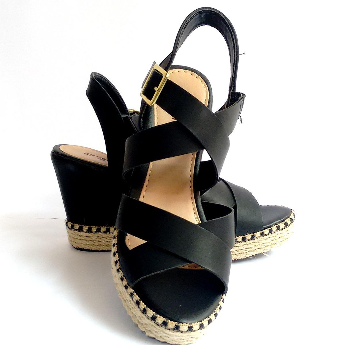 32218d849 sandália anabela feminina preta plataforma salto alto corda. Carregando  zoom.