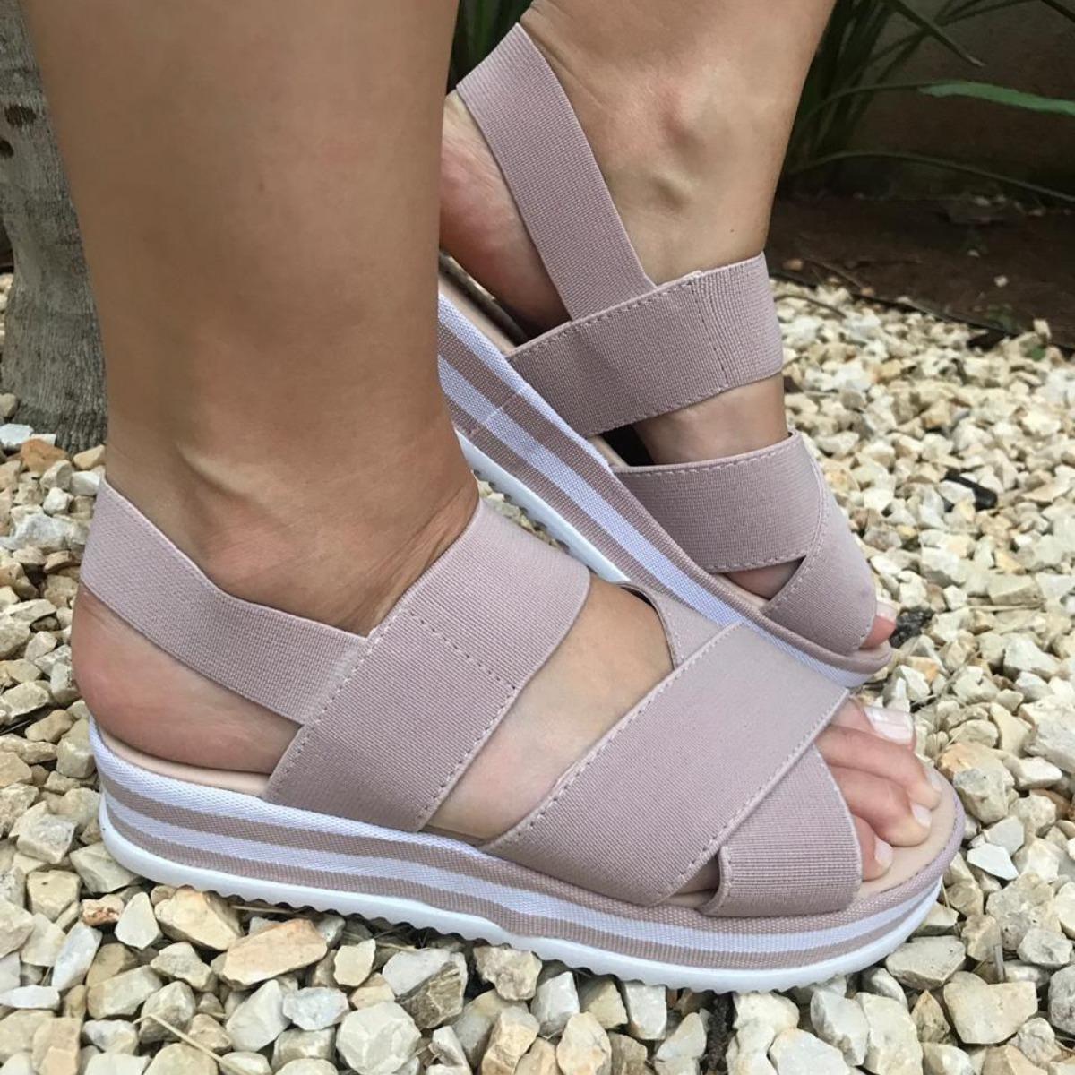91e09ad1c sandalia anabela feminina tratorada sapato plataforma moda. Carregando zoom.