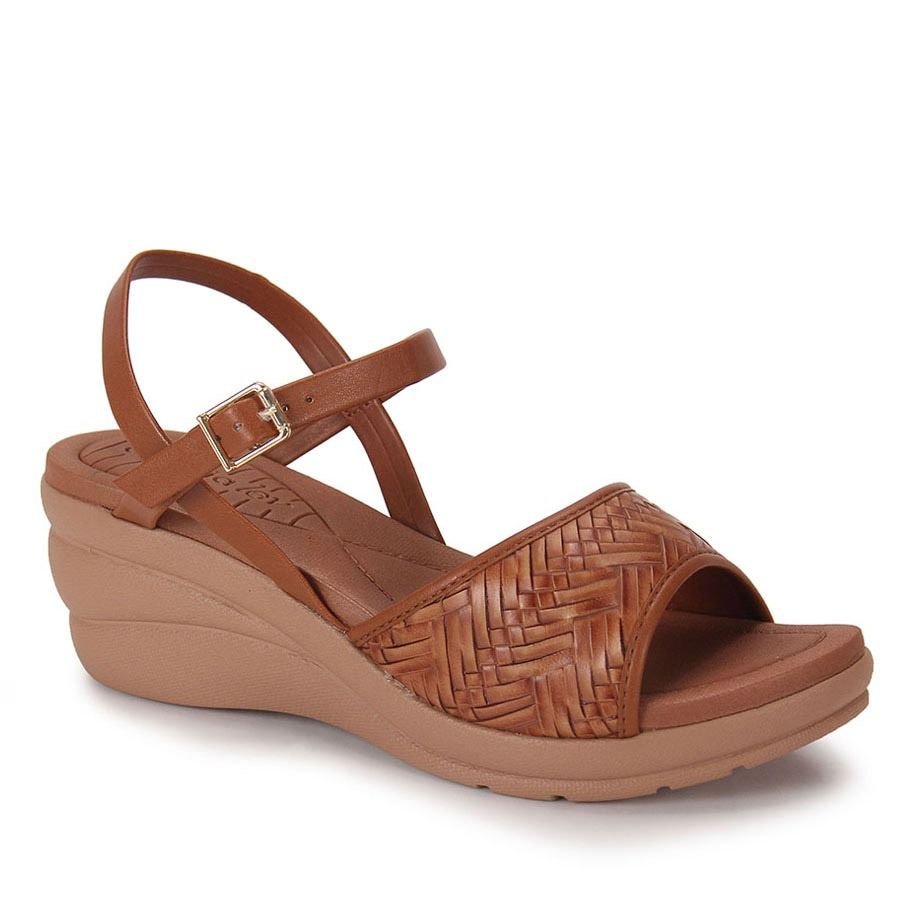 135290580 sandália anabela feminino azaleia - caramelo. Carregando zoom.