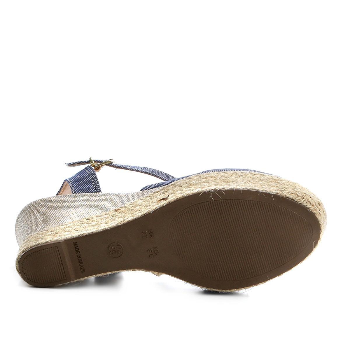 a9e11efa49 sandália anabela griffe espadrille jeans feminina. Carregando zoom.