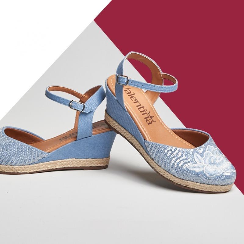 6cb5318075 sandalia anabela jeans azul claro. Carregando zoom.