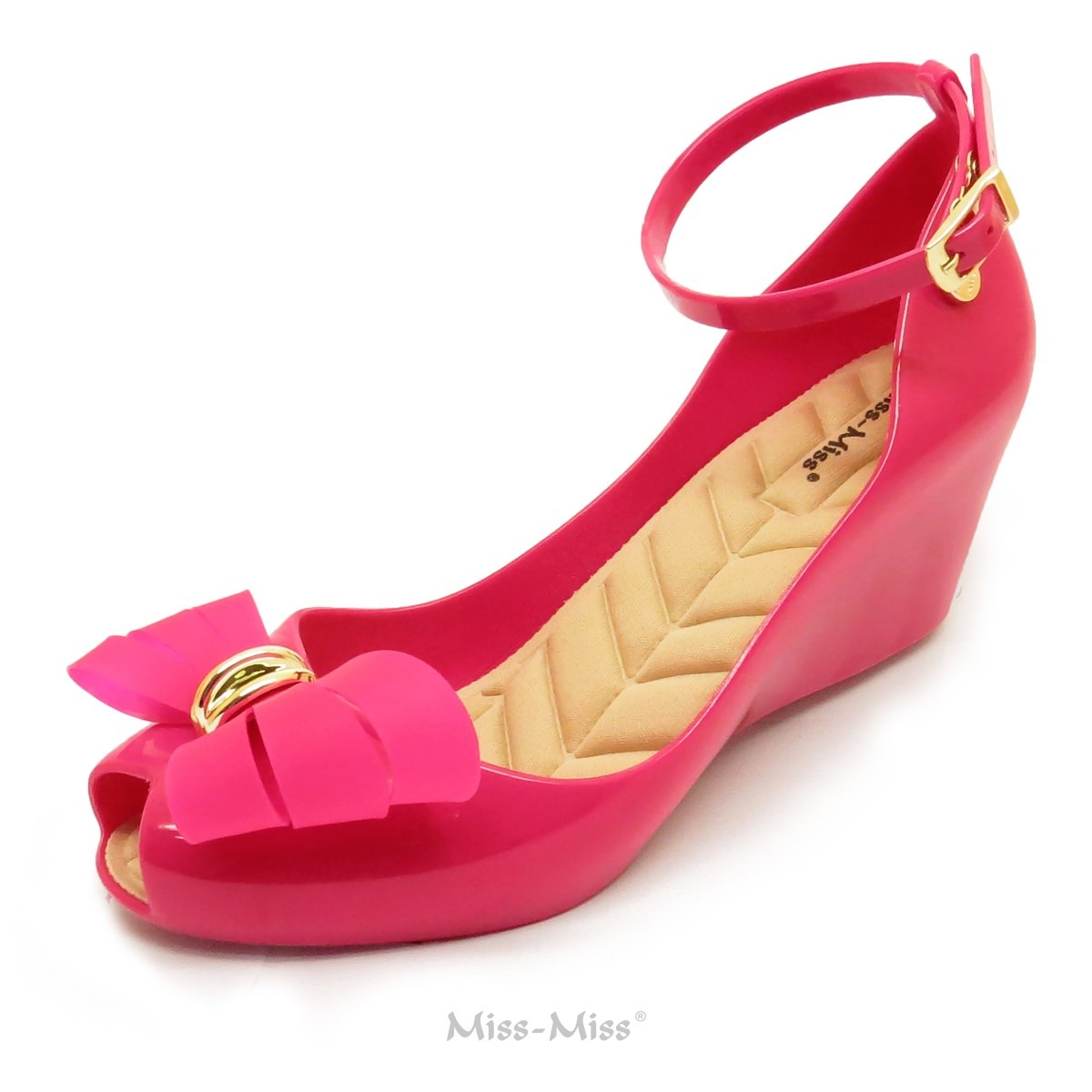 8ec8cfe801 Sandália Anabela Laço 3 Cortes Pink Miss Miss - R  29